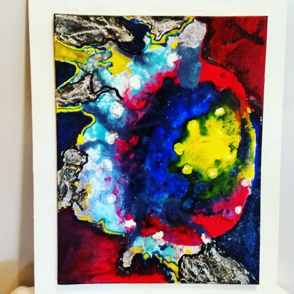 Carton entoilé 35 x 27  Acrylique, peinture vitrail, céramique, Mixed Media (gel de texture)
