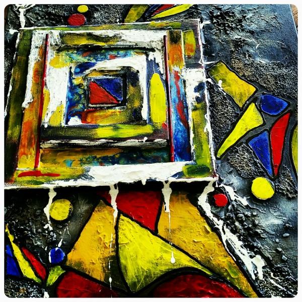 Toile 50x60 Acrylique, peinture vitrail, Mixed Media (Collage, gel de texture)